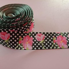"1 1/2"" wide black and white polka dot with pink flower grosgrain ribbon"