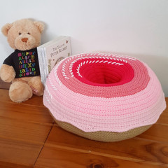 Giant Donut Cushion Pillow in Strawberry Ombre