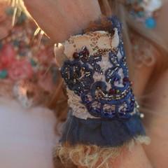 Blue vintage lace beaded cuff, textile bracelet