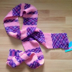 Fuzzy Spell Scarf - One Off, Pink and Purple Acrylic Yarn