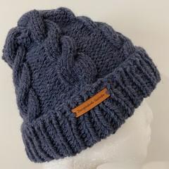 Handmade knitted grey cable beanie men's or ladies alpaca