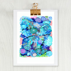 'Reef Rhapsody'. A4 or A3 Reproduction Art PRINT of my mixed media painting
