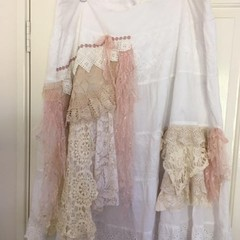 Plus size cotton skirt, vintage lace, boho layered