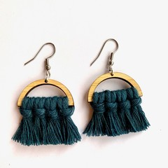 Mini peacock blue macrame earrings