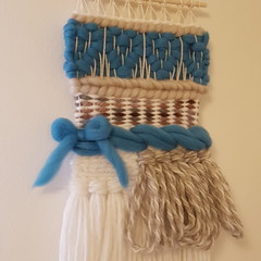 Hand woven wall hanging - blue hearts