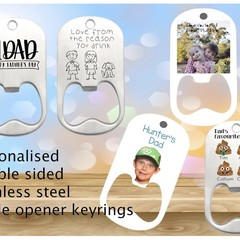 Personalised Bottle Opener Keyring, Photo, name