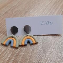 Muted rainbow dangle earrings