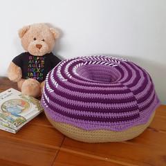 Giant Donut Cushion Pillow in Purple Swirl