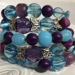 Wrap around bracelet with butterflies  purple blue tones