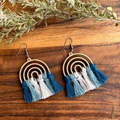 Rainbow blue green macrame earrings
