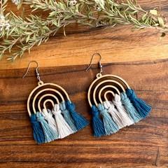 Rainbow blue green macrame earrings gift for her