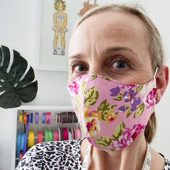 READY TO SHIP-Cotton Face Mask ~ Pink Watercolour Floral ~ 3 layers