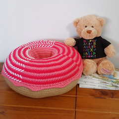 Giant Donut Cushion Pillow in Strawberry Swirl