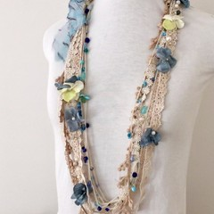 Layered boho necklace, crochet  beaded  lace necklace