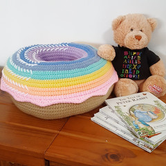 Giant Donut Cushion Pillow in Pastel Rainbow