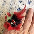 red boho ring, silk beaded gypsy ring, beaded textile festival ring, fairy ring,