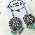 Antique Silver Toned Metal Mandala Charm Turquoise Hippy Bo-ho Dangle Earrings