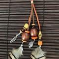 Orange & brown bag charms - Lanyard - Key ring - Boho style - Wood, feathers