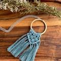 Macrame laurel green necklace gift for her