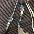 Natural & blue bag charms - Lanyard - Key ring - Boho style - Wooden beads