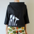 Boxy Denim Long Sleeve Top with Screen Printed Flowers on Front and White