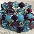 Wrap around bracelet with butterflies  purple blue tones