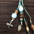 Light blue bag charms - Lanyard - Key ring - Grigri- Boho style - Wooden beads