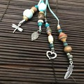 Light blue bag charms - Lanyard - Key ring - Grigri- Boho style - Wooden beads