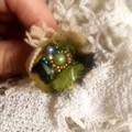 green boho bead ring, textile festival ring