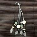 Natural & grey bag charms - Lanyard - Key ring - Boho style - Wooden beads