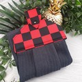 Black and Red Checkerboard Button Fabric Hand Towel - Coloured Print