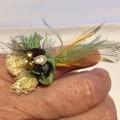 green boho bead ring, silk beaded gypsy ring, beaded textile festival ring