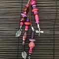 Pink & purple bag charms - Lanyard - Key ring - Boho style -Wood metal