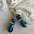 Crystal drop silver tone earrings