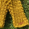 Mustard super soft straight winter scarf hand knitted wool