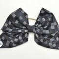 Grey Checkered Bow Ear Saver for Ear Loop Face Masks
