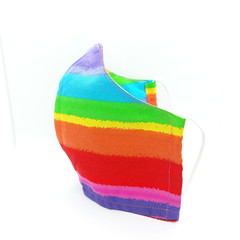 Handmade RAINBOW Cotton Face mask with filter pocket, Reusable, Washable