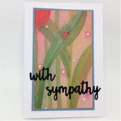 Sympathy Card - Nature Theme, Leaves and stems and Ladybug