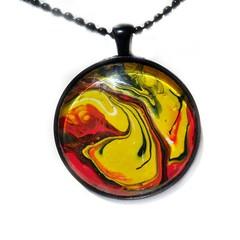 40mm Art pendant, acrylic tiny painting
