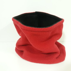 Handmade Fleece Neck Warmer, Reversible Scarf Warm Infinity Loop Circle