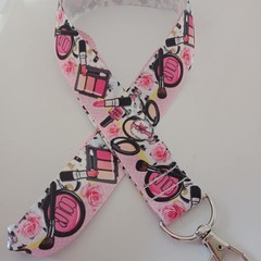Pink make-up cosmetics fashion lanyard / ID holder / badge holder