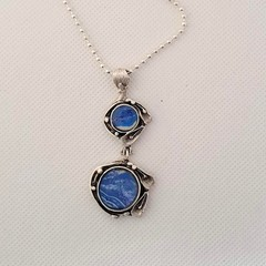 Blue set in Antique Silver Necklace