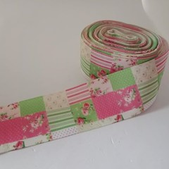 "1 1/2"" pink and green flower patchwork grosgrain ribbon"