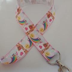 Llama / alpaca rainbow heart print lanyard / ID holder / badge holder