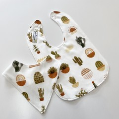Boho succulent bib/bandana set
