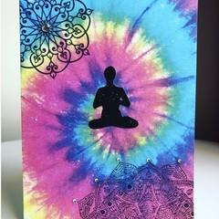 Tie dye mandala yoga card