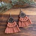 Walnut terracotta macrame dangle earrings