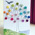 Rainbow button tree card