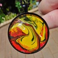 40mm Art pendant, acrylic tiny painting