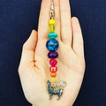 Rainbow llama beaded keyring